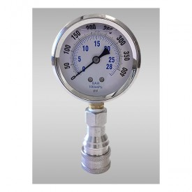 Pressure Gauge with STAINLESS SAFETY QD Coupler