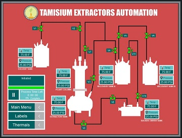 Tamisium Extraction Automation Process Screen